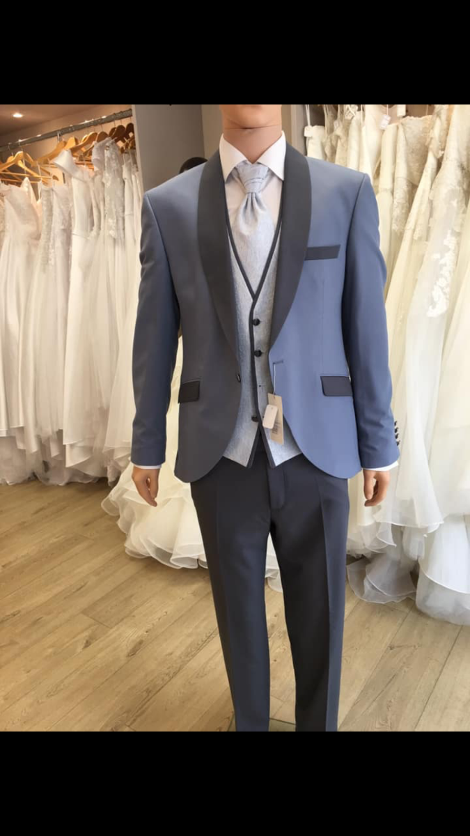 Costume gris et bleu