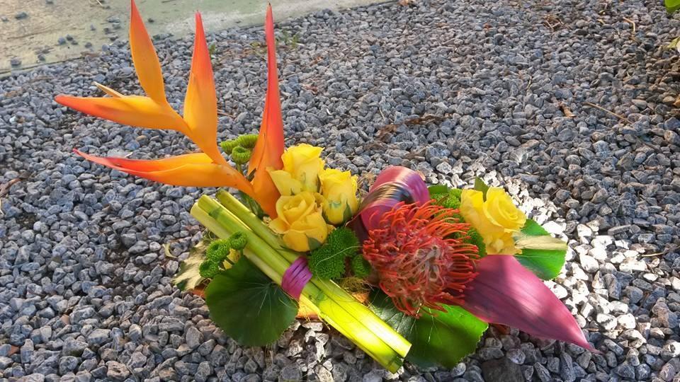 Composition exotique - Acacia Fleurs - Fleuriste Cannes
