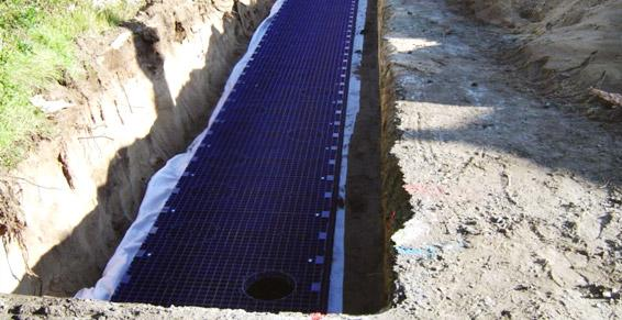 pose de modules de rétention et d'infiltration des eaux de pluie