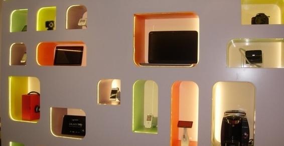 mur de présentation avec LED