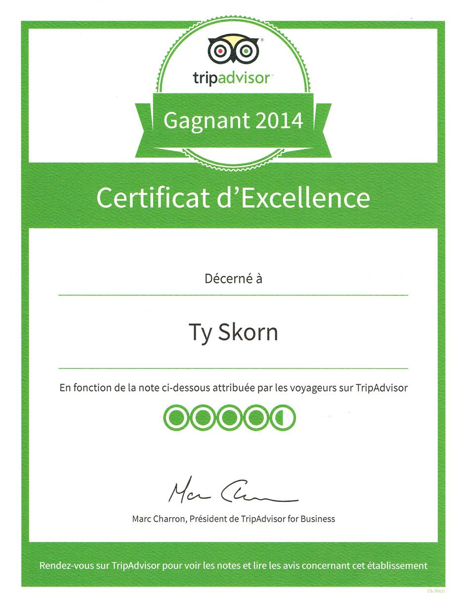 Crêperie artisanale Ty Skorn - Certificat d'excellence 2013 / 2014