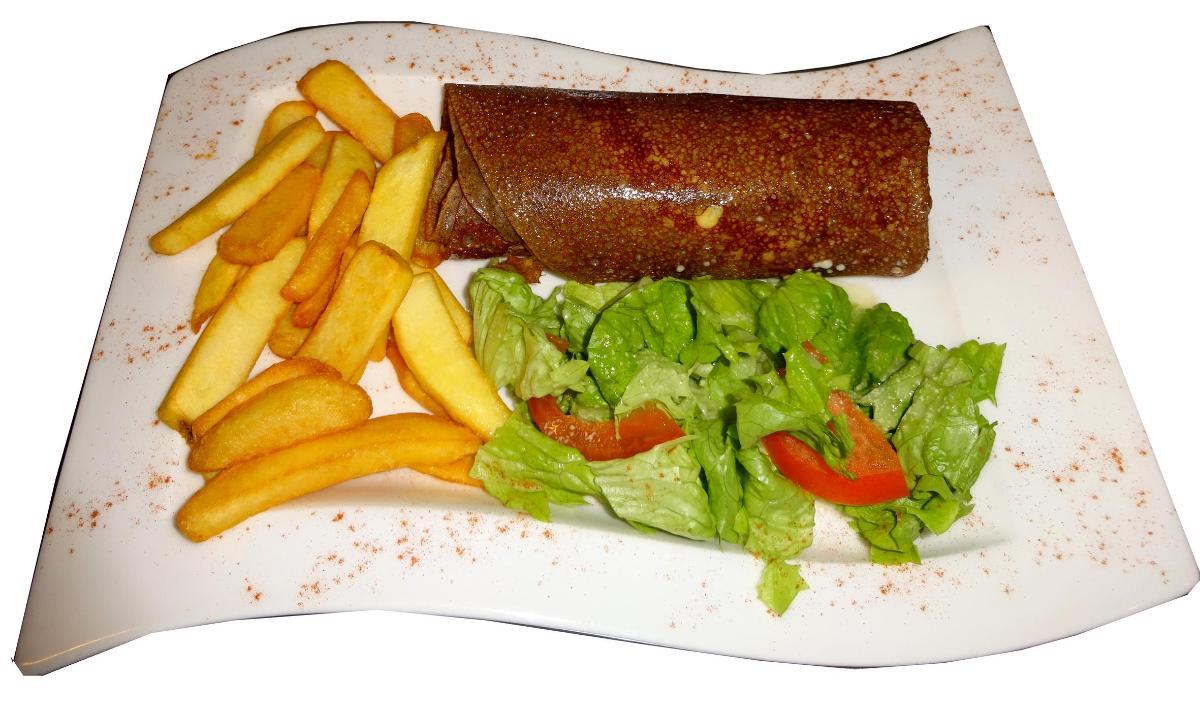 Crêperie artisanale Ty Skorn La traditionnelle galette saucisse à Cancale