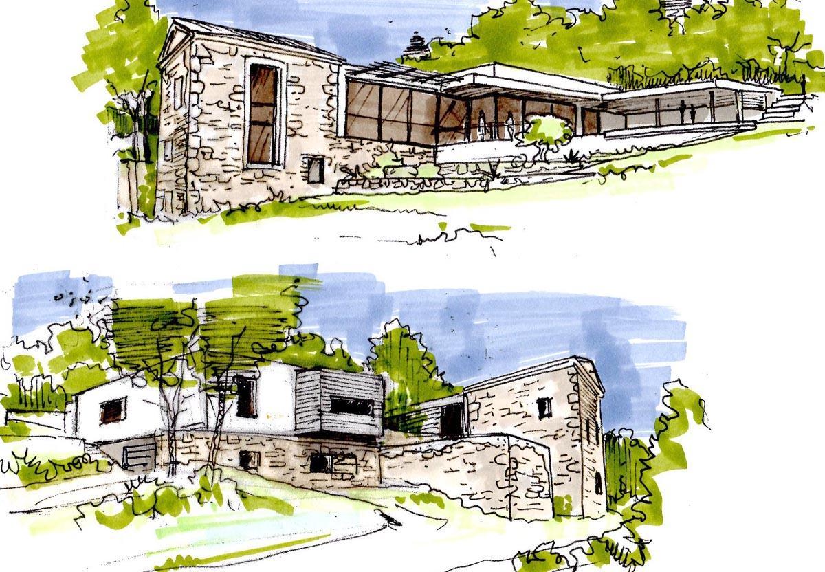 24- Croquis perspectif Maison en projet / Mr Mme J./ Drôme Provençale