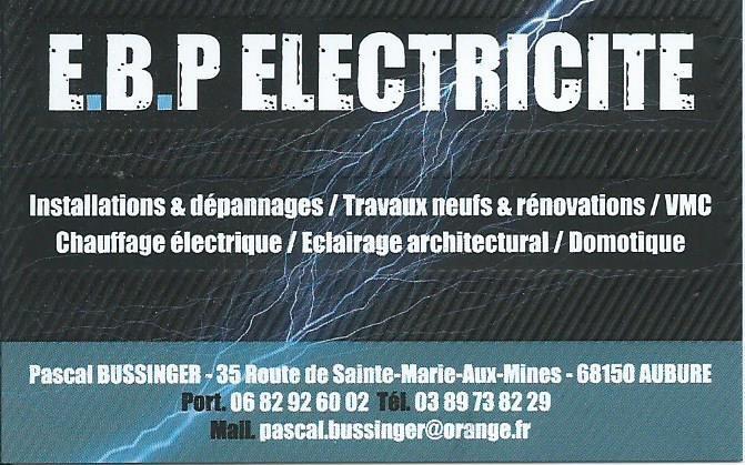Carte de viste - E.B.P Électricité Bussinger Pascal à Aubure