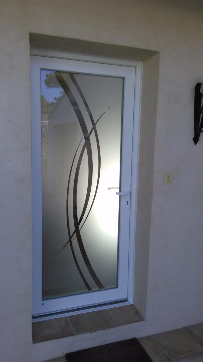 Porte d'entrée PVC PE H84 blanche