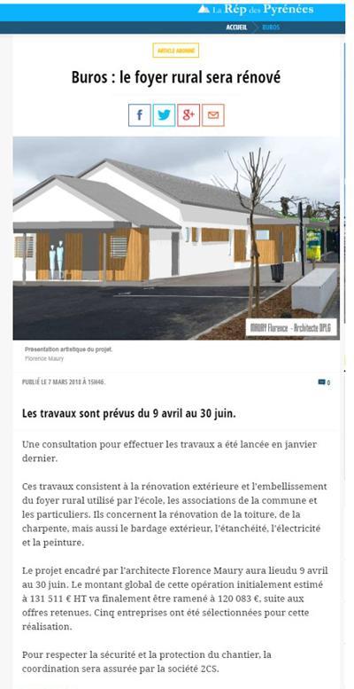 article la République de Pyrénées du  7mars 2018