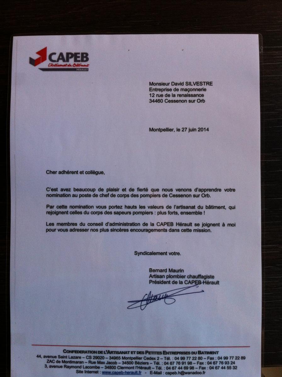 Lettre félicitations CAPEB