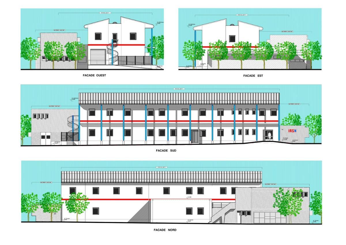façade Bâtiment tertiaire et de recherche de l'IRSN à CADARACHE
