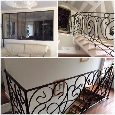 ferronnerie d'art - rampe d'escalier sur voûte sarazine